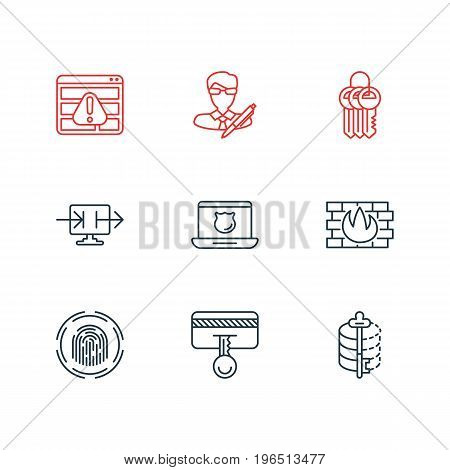 Editable Pack Of Safety Key, Browser Warning, Finger Identifier And Other Elements. Vector Illustration Of 9 Data Icons.