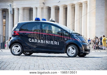 Rome, Italy - 17 June 2017 : Police securty car in Rome, Italy