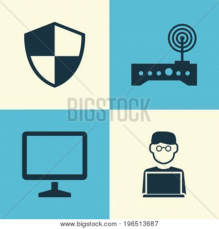 Digital Icons Set. Collection Of Desktop, Router, Programmer And Other Elements