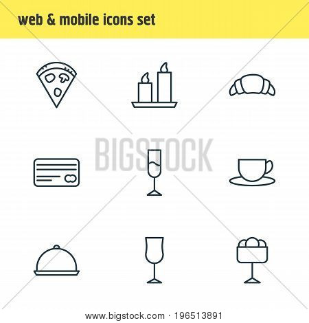 Vector Illustration Of 9 Restaurant Icons. Editable Pack Of Card, Tray, Fire Wax And Other Elements.