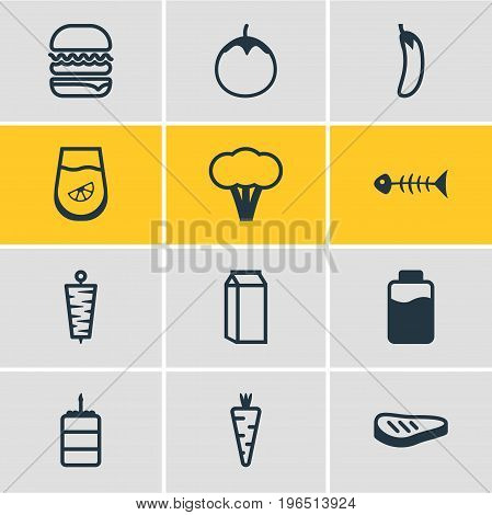 Vector Illustration Of 12 Meal Icons. Editable Pack Of Cotton, Eggplant, Doner And Other Elements.