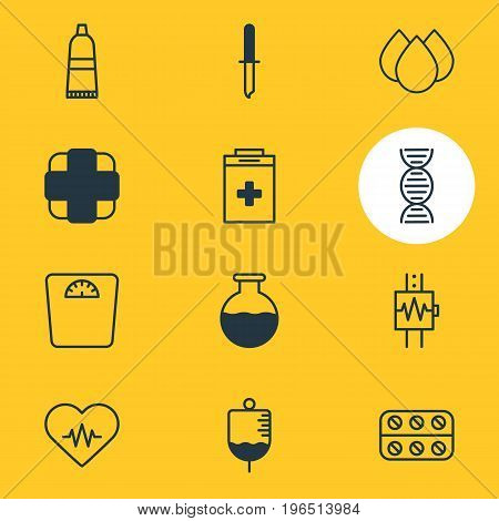 Vector Illustration Of 12 Medicine Icons. Editable Pack Of Vial, Antibody, Tube And Other Elements.