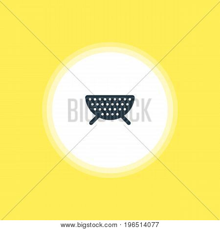 Vector Illustration Of Colander Icon. Beautiful Cooking Element Also Can Be Used As Sieve Element.