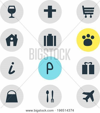 Vector Illustration Of 12 Travel Icons. Editable Pack Of Wineglass, Car Park, Handbag Elements.