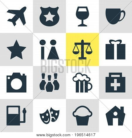 Editable Pack Of Skittles, Beer Mug, Scales And Other Elements. Vector Illustration Of 16 Map Icons.