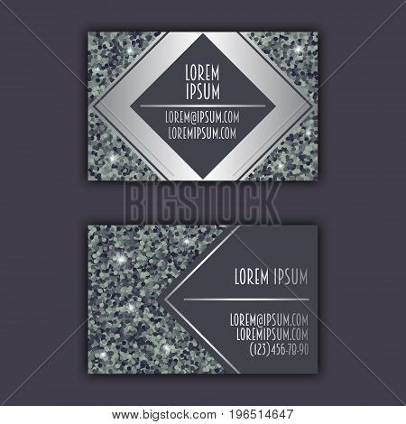 Business Card Templates With Glitter Shining Background