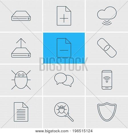 Editable Pack Of Hdd Sync, Removing File, Bug And Other Elements. Vector Illustration Of 12 Network Icons.