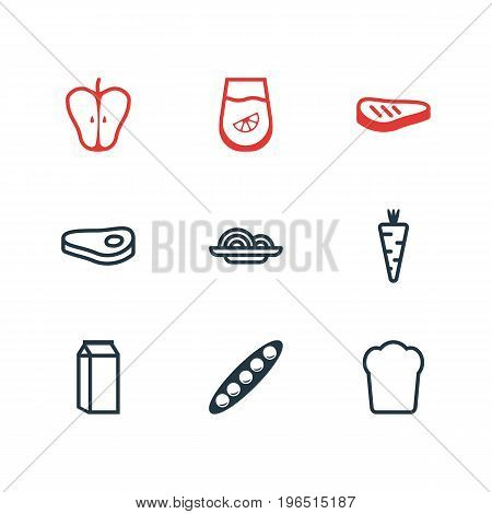 Editable Pack Of Bean, Jonagold, Sirloin And Other Elements. Vector Illustration Of 9 Food Icons.