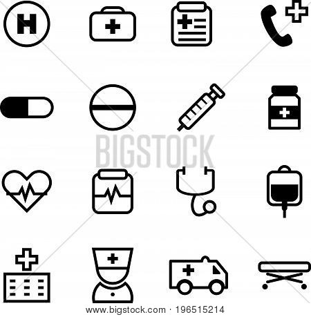 16 Basic black color icon set for medical and healthcare business on white background