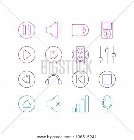 Vector Illustration Of 16 Music Icons. Editable Pack Of Reversing, Rewind, Compact Disk And Other Elements.