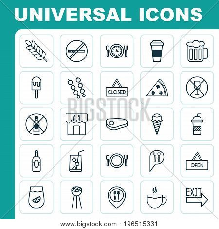 Eating Icons Set. Collection Of Alcohol Forbid, Sundae, Cutlery And Other Elements