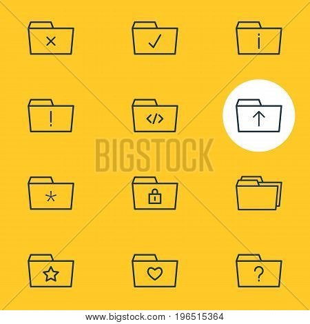 Editable Pack Of Folders, Closed, Information And Other Elements. Vector Illustration Of 12 Document Icons.