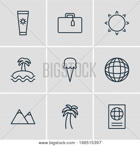 Vector Illustration Of 9 Summer Icons. Editable Pack Of Sunny, Palm, Earth And Other Elements.