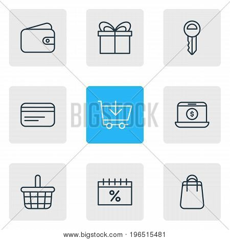 Vector Illustration Of 9 Wholesale Icons. Editable Pack Of Pocketbook, Present, Discount And Other Elements.