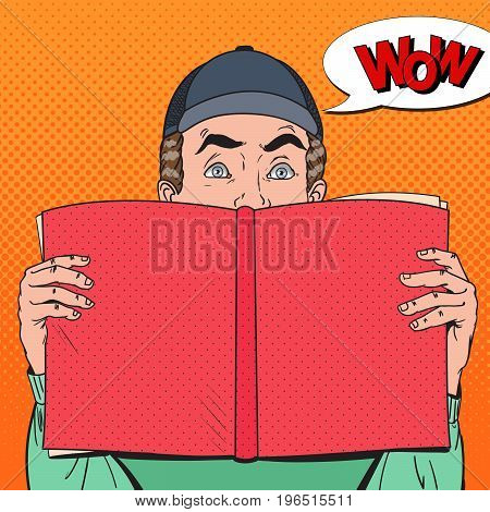 Pop Art Amazed Man Holding Book. Educational Concept. Vector illustration