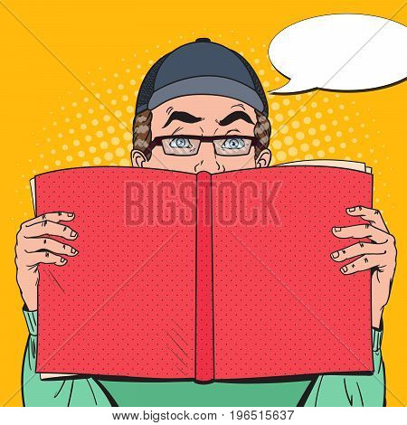 Pop Art Surprised Man Holding Book. Educational Concept. Vector illustration