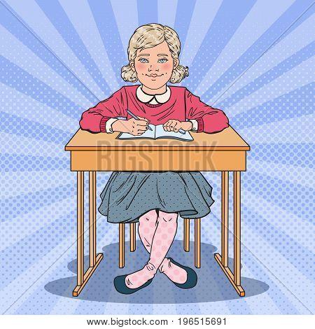 Pop Art Schoolgirl Sitting at School Desk. Educational Concept. Vector illustration