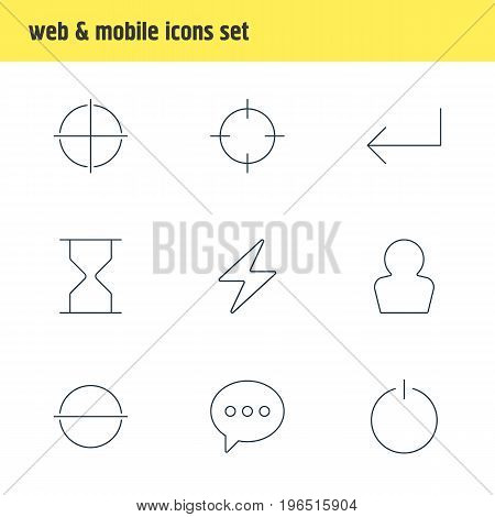 Vector Illustration Of 9 User Icons. Editable Pack Of Screen Capture, Message, Switch Off And Other Elements.