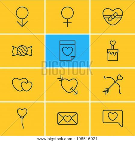 Vector Illustration Of 12 Passion Icons. Editable Pack Of Lollipop, Woman, Messenger And Other Elements.