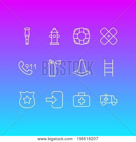 Editable Pack Of Adhesive, Door, Hotline And Other Elements. Vector Illustration Of 12 Necessity Icons.