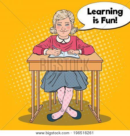 Pop Art Happy Schoolgirl Sitting at School Desk in Classroom. Educational Concept. Vector illustration