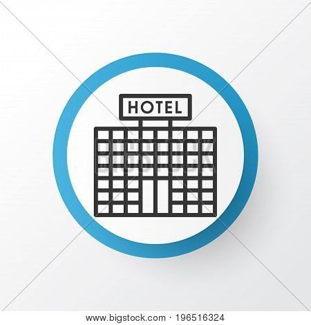 Hotel Building Icon Symbol. Premium Quality Isolated Resort Development Element In Trendy Style.