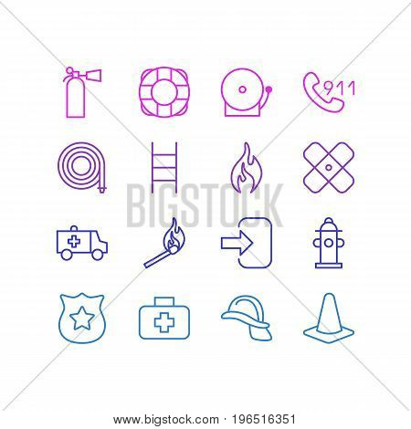 Editable Pack Of Badge, Taper, Lifesaver And Other Elements. Vector Illustration Of 16 Necessity Icons.