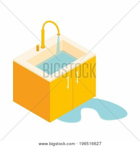 the faulty sink drain, sink trap leaking. drain the water in the sink.drain the water in the sink.Water splashing down in the washbowl.Isometric basin with tap and water. vector illustration