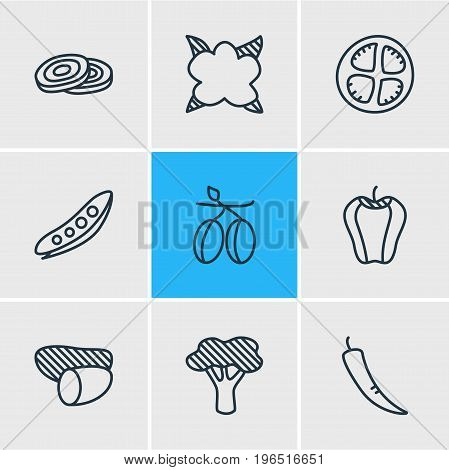 Vector Illustration Of 9 Vegetables Icons. Editable Pack Of Paprika, Tomato Slice, Mediterranean And Other Elements.