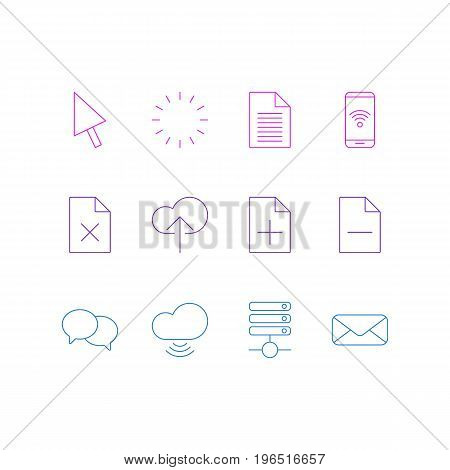 Vector Illustration Of 12 Internet Icons. Editable Pack Of Removing File, Wave, Letter And Other Elements.