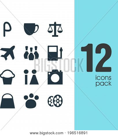 Vector Illustration Of 12 Location Icons. Editable Pack Of Photo Device, Cake, Handbag Elements.