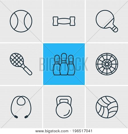 Editable Pack Of Bowling, Pong, Rocket And Other Elements. Vector Illustration Of 9 Sport Icons.