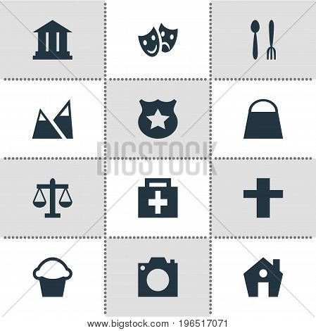 Editable Pack Of Masks, Landscape, Photo Device Elements. Vector Illustration Of 12 Map Icons.
