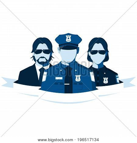 Group of police officers isolated on white background. Silhouettes of policeman, policewoman and detective agent. Flat vector illustration.