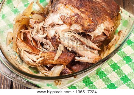Slow Cooked Pulled Pork Shoulder With Onion And Garlic