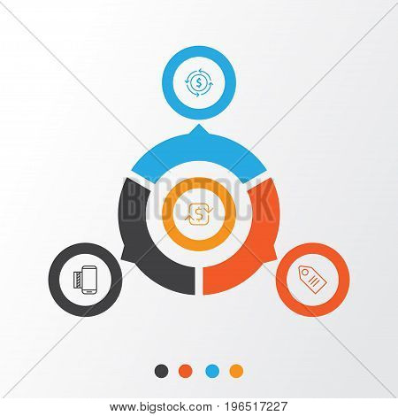 E-Commerce Icons Set. Collection Of Mobile Service, Ticket, Finance And Other Elements