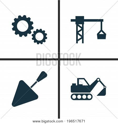 Building Icons Set. Collection Of Spatula, Digger, Cogwheel And Other Elements