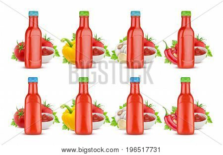 Tomato ketchup bottle isolated on white background