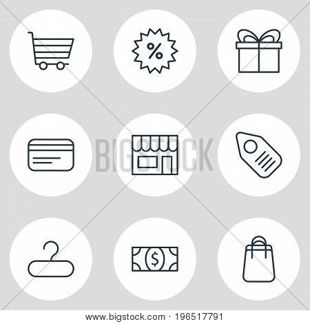 Editable Pack Of Payment, Rack, Sales And Other Elements. Vector Illustration Of 9 Commerce Icons.