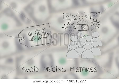 Price Tag Next To Group Of Customers With Negative Reactions