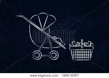 Baby In Stroller Next To Shoping Basket Full Of Items