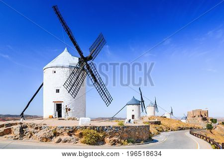 Consuegra Spain. Windmills of Don Quixote in Toledo province.