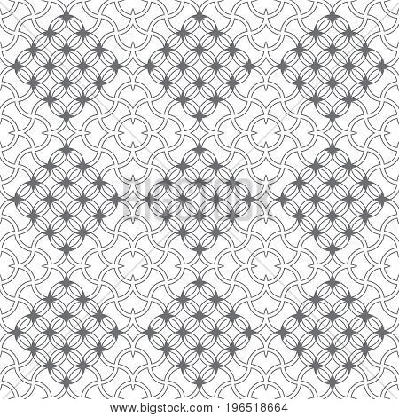 Vector seamless pattern. Modern stylish texture in the form of geometrical tiles. Intersecting circles rhombuses and stars. Regularly repeating tileble ornament. Contemporary geometrical design. poster
