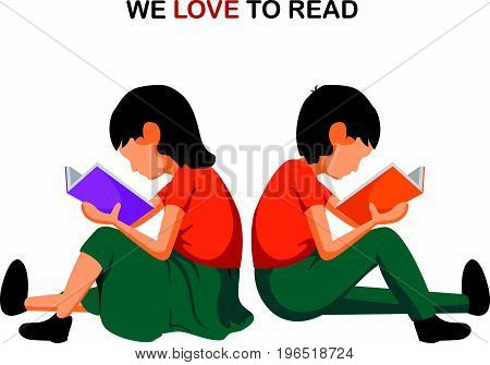Boy and Girl sitting and reading. Vector illustration of kids reading book sitting on floor. We love reading.