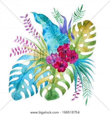 Watercolor tropical bouquet with exotic liana leaves and lily Chinese hibiscus flowers isolated on white background.