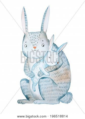 Cartoon mother rabbit holding her baby lulling to sleep hand-drawn with aquarelle isolated on white background.