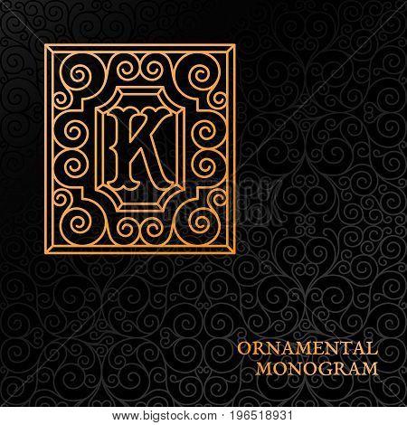 Flourishes luxury elegant ornamental monogram template with letter K in trendy linear style. Vector illustration.