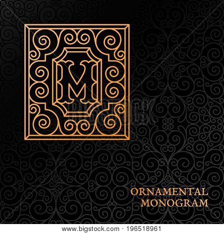 Flourishes luxury elegant ornamental monogram template with letter M in trendy linear style. Vector illustration.