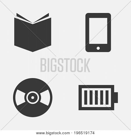 Media Icons Set. Collection Of Turntable, Full Battery, Learning And Other Elements