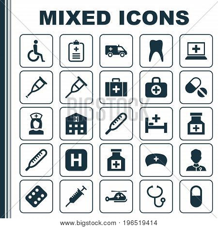 Drug Icons Set. Collection Of Pellet, Surgical Bag, Nanny And Other Elements